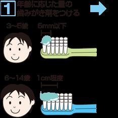 1. 年齢に応じた量の歯みがき剤をつける 3~5歳:5mm以下 6~14歳:1cm程度