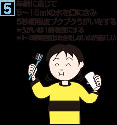 5. 年齢に応じて5~15mlの水を口に含み5秒間程度ブクブクうがいをする ※うがいは1回程度にする ※1~2時間程度は飲食をしないのが望ましい